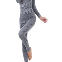 Women Round Neck Thermal Set Winter Tops&Pants Long Johns Pajama Sets Gray