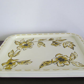 Set of 6 Vintage Gold and Black Floral on Cream TV Serving Trays