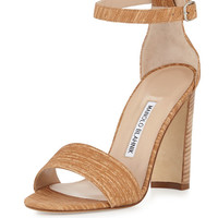 Laurato Ankle-Wrap 105mm Sandal, Beige