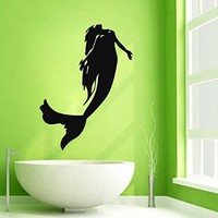 Wall Decor Vinyl Decal Sticker Girl Mermaid Bathroom Decor Kg396