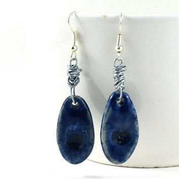 Ceramic Earrings Handmade Jewellery Dark Indigo Blue Oval with fused glass Comes in Handmade Gift Pouch