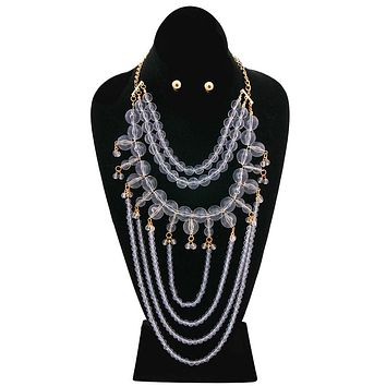 Clear Bead Necklace Set with Beaded Draping