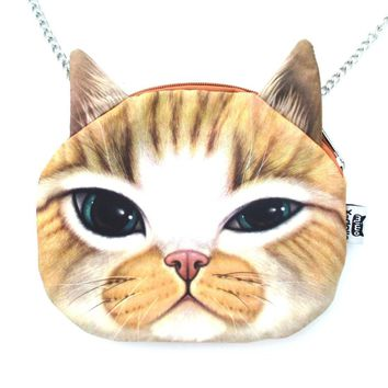 Ginger Kitty Cat Face Shaped Photo Digital Print Cross Body Shoulder Bag
