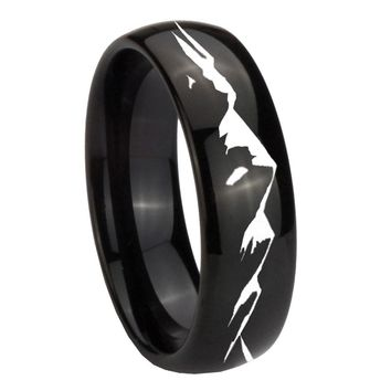 8MM Classic Dome Sound Wave I love you Shiny Black Tungsten Laser Engraved Ring