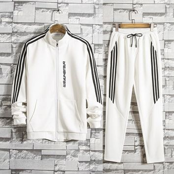2018 New spring and autumn Tracksuit Man And Women Fashion Brand Tracksuits Outwear 2 pieces Set Sportswear suit Zipper stripe