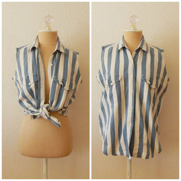 Vintage 90s Blue White Striped Button Up Collar Tank Vest