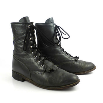 Gray Roper Boots Vintage 1980s Packer Granny Lace up Justin Women's size 8