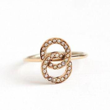 CREYUG7 Antique 14k Rosy Yellow Gold Seed Pearl Love Knot Ring - Victorian Size 6 1/4 1800s Fi
