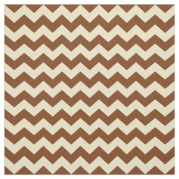 Brown Cream Chevron Zigzag Stripe Pattern Fabric