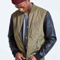 Native Youth Faux Leather Sleeve Bomber Jacket- Olive