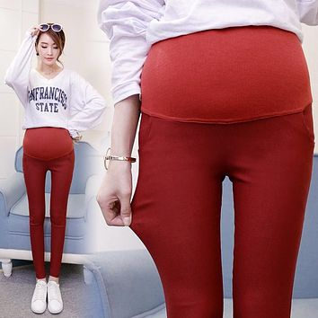 2017 spring and summer pregnant women pencil pants candy color big code care belly Slim wild pants trousers