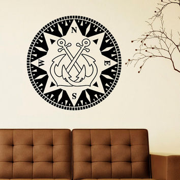 Nautical Anchor Wall Decal Vinyl Sticker- Anchor Wall Art Home Decor Compass North South West East- Compass Anchor Nautical Wall Decals C048