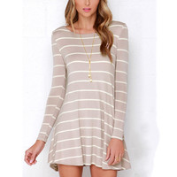 Elegant Casual Long Sleeve Loose Maternity Dress with Plunging Back