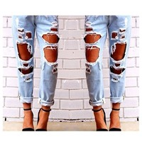 Amazon.com: Mink Gal Womens Destoryed Boyfriend Ripper Denim Jeans