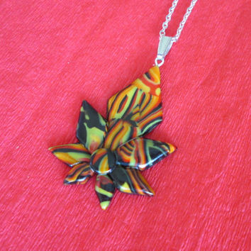 red orange black necklace,polymer clay jewelry,polymer clay pendant,flower nekclace,boho necklace,affordable jewelery,gift for her,hippie