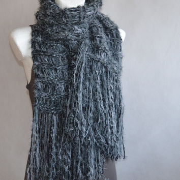 Scarf for Women Dark Grey Shades Loose Knit Scarf with extra long Fringes Gift for Her Gift under 40 FREE SHIPPING