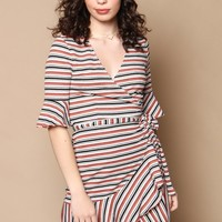 Striped Jersey Wrap Dress
