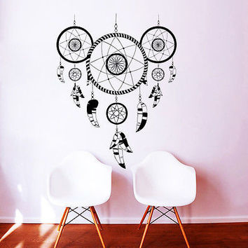 Wall Decal Dreamcatcher Yoga Feathers Ornament Indian Buddha Room Decor DA3907