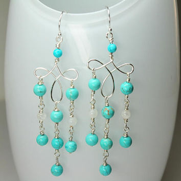 Turquoise Chandelier Earrings, Blue Turquoise Gemstones, Turquoise Earrings Genuine, Wire Wrap Turquoise, Long Dangle Earrings
