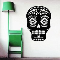 Wall Decal Skull Flower Floral Pattern Vinyl Sticker Bedroom Home Decor OS274