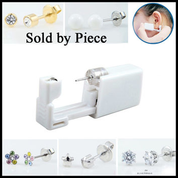 SHUIMEI 1PC 316l Surgical Steel Sterilized Disposable Ear Piercing Gun Tools With Clear Gem Earring Stud For Sexy Women Jewelry