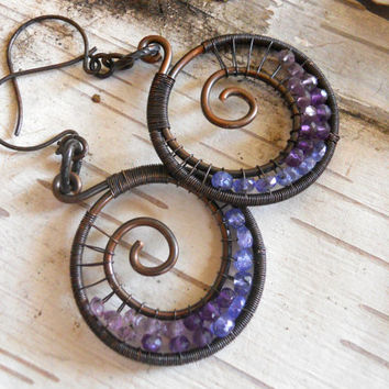 Wire Wrapped Spiral Hoops with Tanzanite and Amethyst Ombre Purple Gemstone Hoops