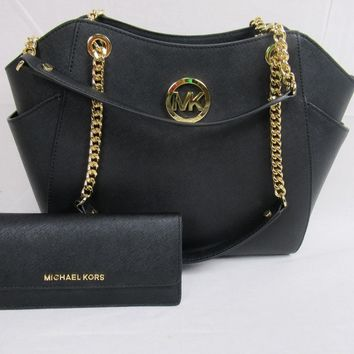 Michael Kors Black Saffiano Leather Jet Set Travel Chain Shoulder Flat Wallet