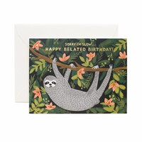 Sloth Belated Birthday Greeting Card by RIFLE PAPER Co. | Made in USA