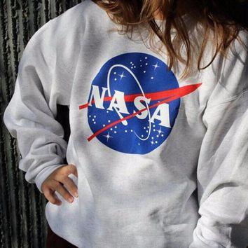 Casual Edgy Galaxy Pattern Print Multicolor Long Sleeve Top Pullover Sweater