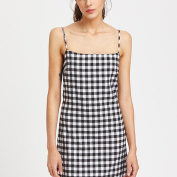 Black and White Gingham Bow Tie Back Cami Dress
