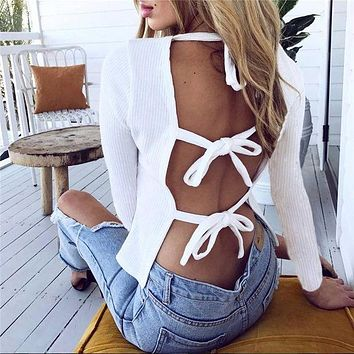 DCCKJH2 Sexy Backless Bandage Round Neck Long Sleeve T Shirt Top