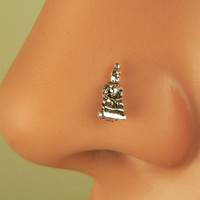 sterling silver Buddha nose ring - nose stud - nose jewelry