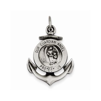 Sterling Silver Antiqued Guardian Angel on Anchor Medal Pendant