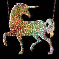 PANIKA Magic Unicorn holographic laser cut necklace glitter / statemenr necklace / unicorn necklace