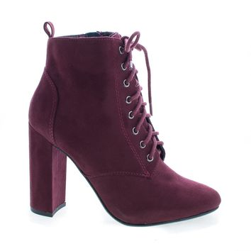 Eminent Vino By Delicious, Suede Almond Toe Lace Up High Heel Ankle Boots