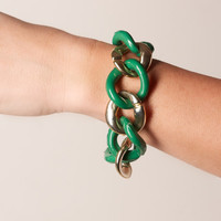 Vintage Gold Tone and Green Large Plastic Link Bracelet
