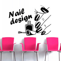 Wall decal decor decals art nails salon nail polish beauty design master varnish polish stylist inscription word signboard (m1306)