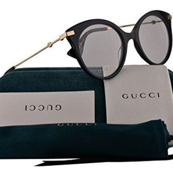 Gucci GG0109O Eyeglasses 50-19-140 Black Gold w/Demo Clear Lens 001 GG 0109O