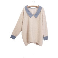 A-shaped Pink V-neck Pullover Lapel Long Sweater