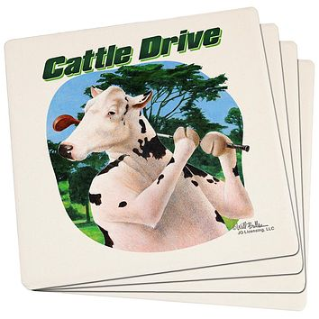 Cattle Drive Funny Cow Golf Set of 4 Square Sandstone Coasters