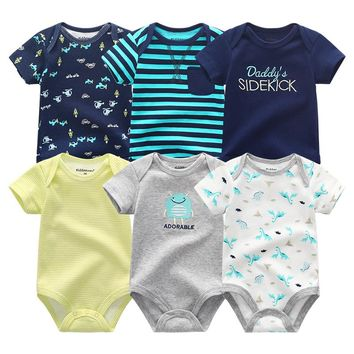 Super Cotton Baby Bodysuit 6pieces/lot Newborn Body Baby Short Sleeve Infant Boy Girl Pajamas Clothes