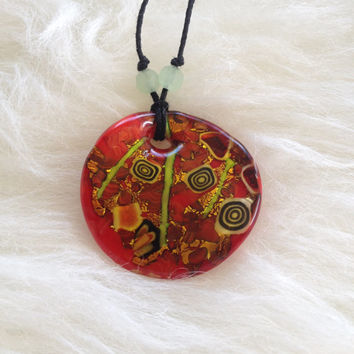 Glass Red and Gold Pendant Necklace - Handmade, Hemp, Aquamarine, Green, Spirals, Black Cord, Unique, Statement, Handblown, Round, Artsy
