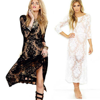Hot Sale See Through Backless Embroidery Vintage Sexy One Piece Dress = 5861929665