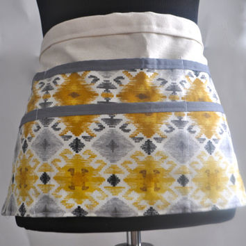 ON SALE Utility Apron, Womens Vendor Apron, Teacher Apron, Carpenter Apron, yellow and gray apron, craft fair apron, gardening apron, Mayan