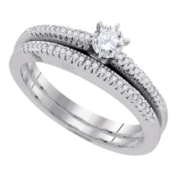 10k White Gold Womens Round Diamond Solitaire Bridal Wedding Engagement Ring Band Set 1/3 Cttw