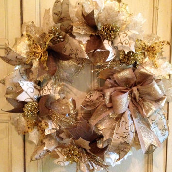 Decorative Gold Holiday Wreath, Fall Wreath, Christmas Wreath, Decorative Fall Wreath, Christmas Grapevine Wreath, Fall Grapevine Wreath