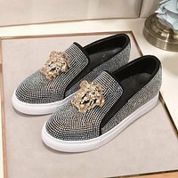 """Versace"" Slip-On Trending Women Men Comfortable Leather Water Drill Flat Sneakers Sport Shoes Black I13143-1"