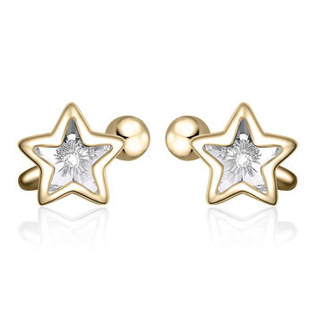 YAN & LEI Sterling Silver Swarovski Crystal Star Ear Bones Clip Cuff Non Piercing Earrings