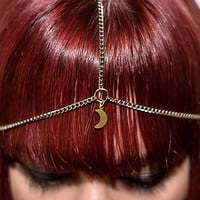 the crescent moon silver plated head chain