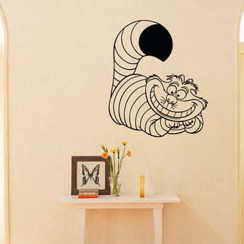 Alice In Wonderland Wall Decal Vinyl Sticker Cheshire- Cat Decal Wall Art Home Decor- Wall Decals For Nursery- Wall Decal Kids Bedroom Q045